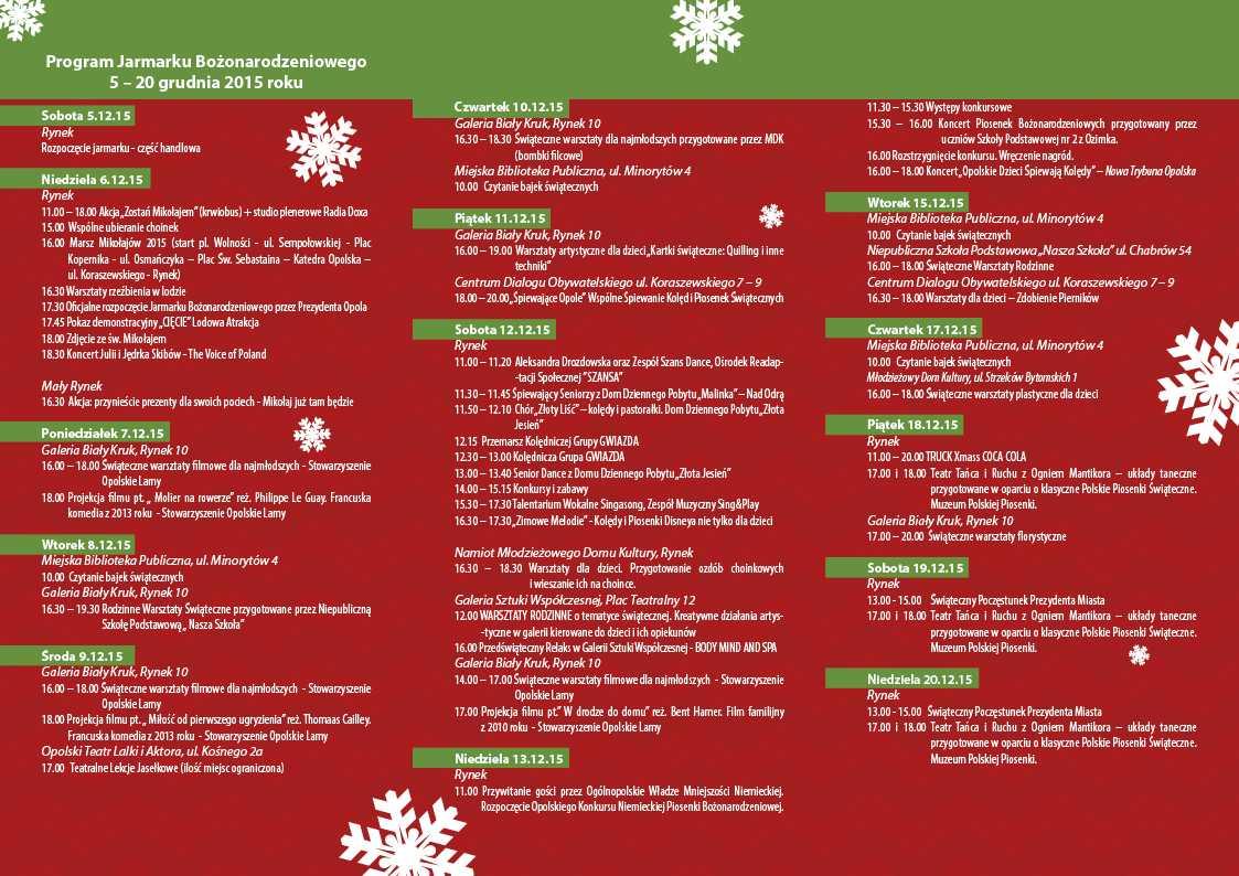 Program Jarmarku Bożonarodzeniowego w Opolu